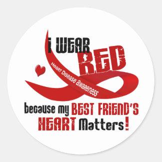 Llevo el rojo para el corazón 33 de mi mejor amigo etiquetas redondas