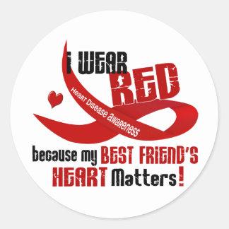 Llevo el rojo para el corazón 33 de mi mejor amigo etiqueta redonda