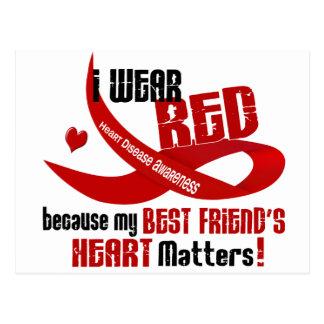 Llevo el rojo para el corazón 33 de mi mejor amigo tarjetas postales