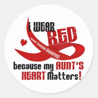 Llevo el rojo para Heart 33 de mi tía Etiquetas Redondas