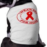 Llevo el rojo para la esperanza camisa de mascota