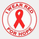 Llevo el rojo para la esperanza pegatinas redondas