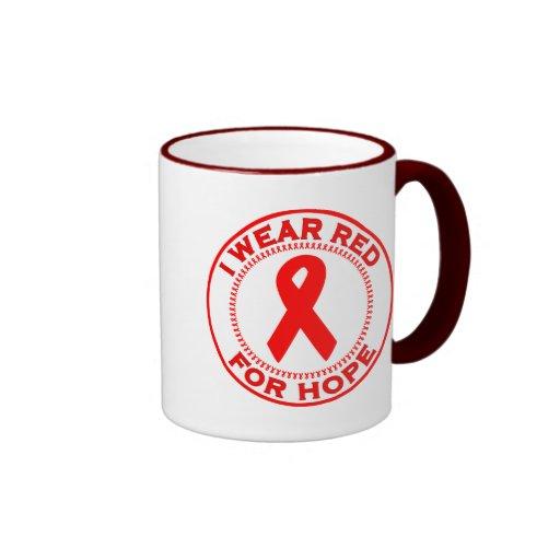 Llevo el rojo para la esperanza taza de café
