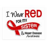 Llevo el rojo para mi enfermedad cardíaca de la he tarjetas postales