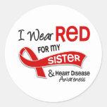 Llevo el rojo para mi enfermedad cardíaca de la etiquetas redondas