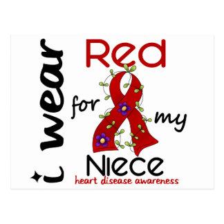 Llevo el rojo para mi enfermedad cardíaca de la tarjeta postal