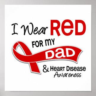 Llevo el rojo para mi enfermedad cardíaca del papá posters