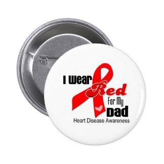 Llevo el rojo para mi enfermedad cardíaca del papá pin redondo de 2 pulgadas