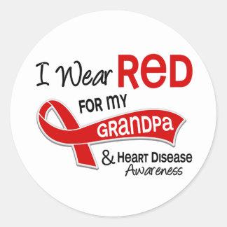 Llevo el rojo para mi enfermedad cardíaca del pegatina redonda