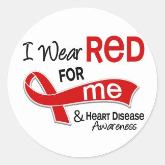 Llevo el rojo para mí enfermedad cardíaca etiqueta redonda