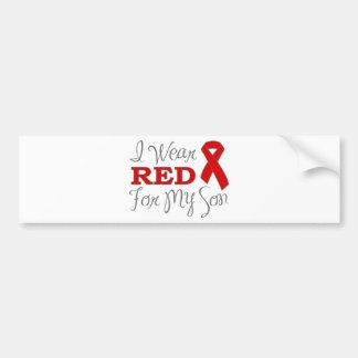 Llevo el rojo para mi hijo (la cinta roja) etiqueta de parachoque