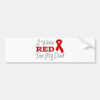 Llevo el rojo para mi papá (la cinta roja) pegatina de parachoque