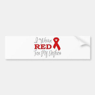 Llevo el rojo para mi sobrino (la cinta roja) pegatina de parachoque
