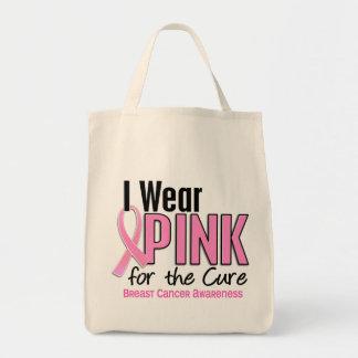Llevo el rosa para el cáncer de pecho de la bolsa tela para la compra