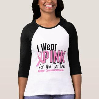 Llevo el rosa para el cáncer de pecho TA-Tas 10 Playera
