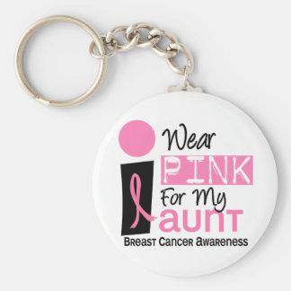 Llevo el rosa para mi cáncer de la tía 9 pecho llavero redondo tipo pin