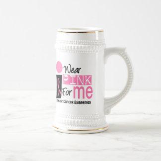 Llevo el rosa para mí cáncer de pecho 9 jarra de cerveza