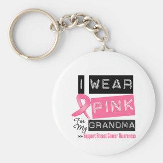 Llevo el rosa para mi cáncer de pecho de la abuela llavero redondo tipo pin