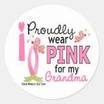 Llevo el rosa para mi cáncer de pecho de la abuela pegatinas redondas