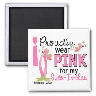Llevo el rosa para mi cáncer de pecho de la cuñada imán para frigorífico