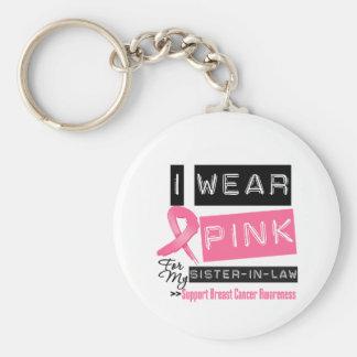 Llevo el rosa para mi cáncer de pecho de la cuñada llavero redondo tipo pin