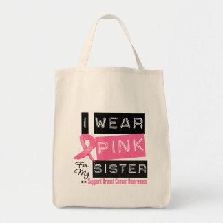 Llevo el rosa para mi cáncer de pecho de la herman bolsa de mano