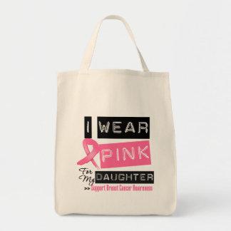 Llevo el rosa para mi cáncer de pecho de la hija bolsas de mano
