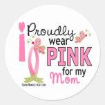 Llevo el rosa para mi cáncer de pecho de la mamá 2 pegatina