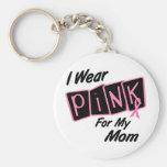 Llevo el rosa para mi cáncer de pecho de la mamá 8 llavero personalizado
