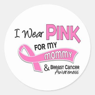 Llevo el rosa para mi cáncer de pecho de la mamá pegatina redonda