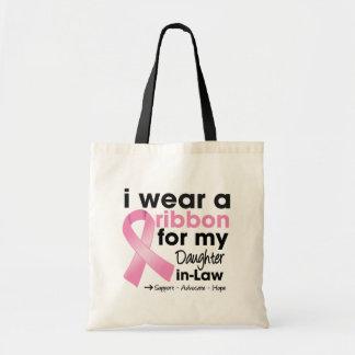 Llevo el rosa para mi cáncer de pecho de la nuera bolsas de mano