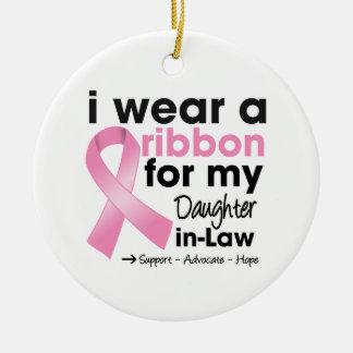Llevo el rosa para mi cáncer de pecho de la nuera ornamento de navidad