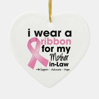 Llevo el rosa para mi cáncer de pecho de la suegra ornamentos de navidad