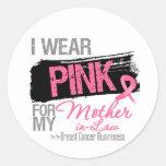 Llevo el rosa para mi cáncer de pecho de la suegra pegatinas redondas