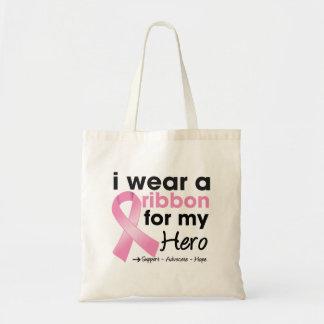 Llevo el rosa para mi cáncer de pecho del héroe bolsa