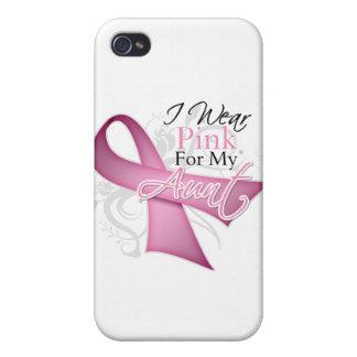 Llevo el rosa para mi conciencia del cáncer de la  iPhone 4/4S carcasas