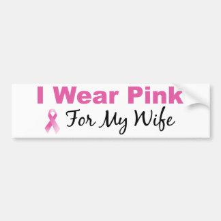 Llevo el rosa para mi esposa pegatina para auto