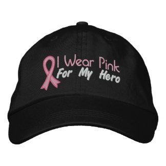 Llevo el rosa para mi héroe - cáncer de pecho gorras bordadas