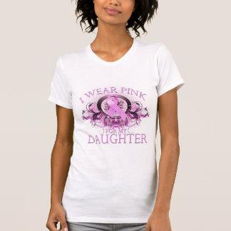 Llevo el rosa para mi hija (floral) playera