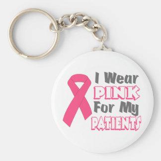 Llevo el rosa para mis pacientes (versión B) Llavero Redondo Tipo Pin