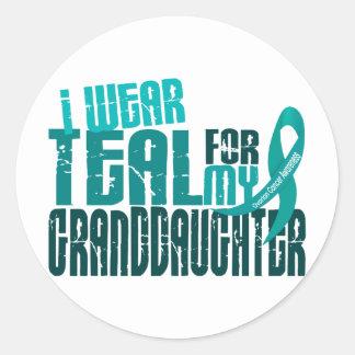 Llevo el trullo para el cáncer ovárico de la nieta pegatina redonda