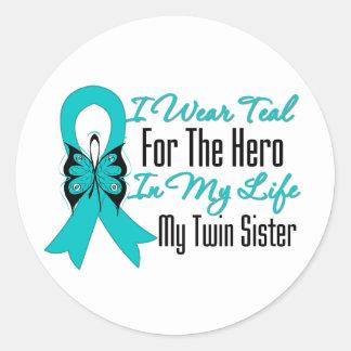 Llevo el trullo para el héroe en mi hermana gemela etiquetas redondas