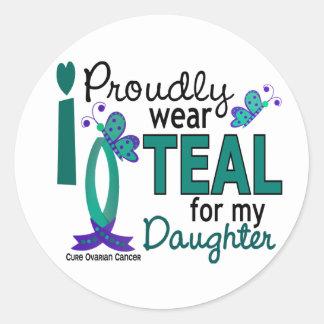 Llevo el trullo para mi cáncer ovárico de la hija pegatina redonda