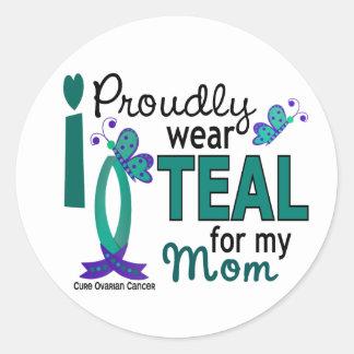 Llevo el trullo para mi cáncer ovárico de la mamá pegatina redonda