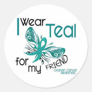 Llevo el trullo para mi cáncer ovárico del amigo etiqueta redonda