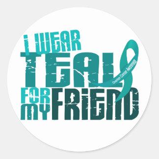 Llevo el trullo para mi cáncer ovárico del amigo pegatinas redondas