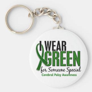 Llevo el verde para alguien la parálisis cerebral llaveros