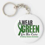 Llevo el verde para la enfermedad de riñón de la c llavero personalizado