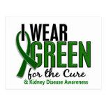 Llevo el verde para la enfermedad de riñón de la c tarjeta postal