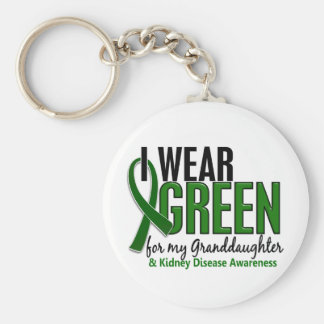 Llevo el verde para la enfermedad de riñón de la n llavero redondo tipo pin